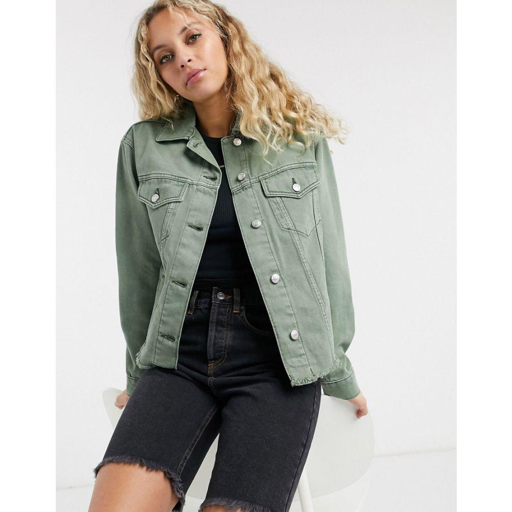 トップショップ Topshop レディース ジャケット シャツジャケット アウター【Organic Cotton Shacket In Khaki】Green