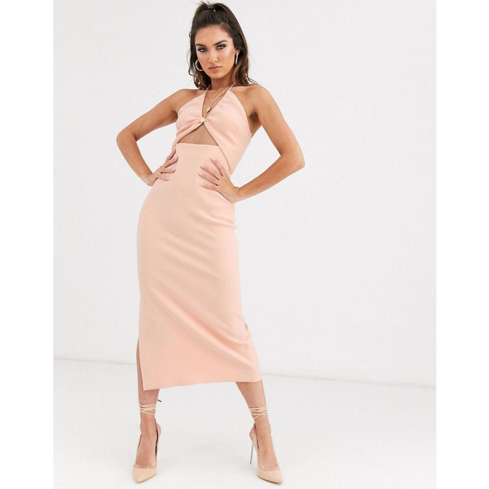 ベック アンド ブリッジ Bec & Bridge レディース ボディコンドレス ミドル丈 ワンピース・ドレス【Ruby Asymmetrical Bodycon Midi Dress In Peach】Peach