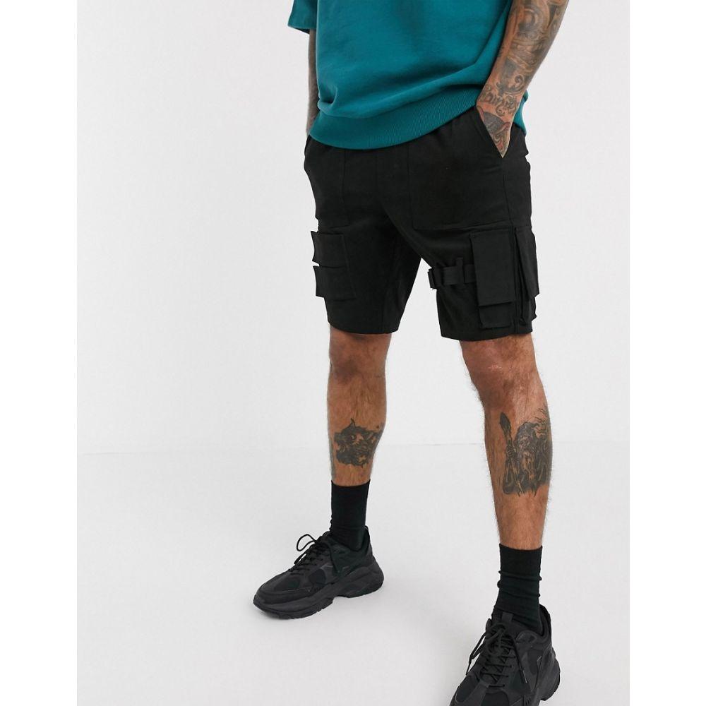 エイソス ASOS DESIGN メンズ ショートパンツ ボトムス・パンツ【Asos Design Skinny Shorts With Strapping】Black