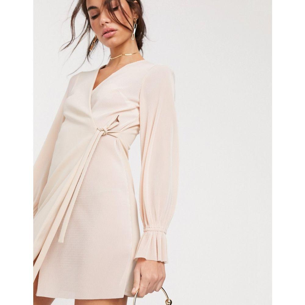 エイソス ASOS DESIGN レディース ワンピース ラップドレス ミニ丈 ワンピース・ドレス【Asos Design Wrap Mini Dress In Plisse Mix In Pale Pink】Pale pink