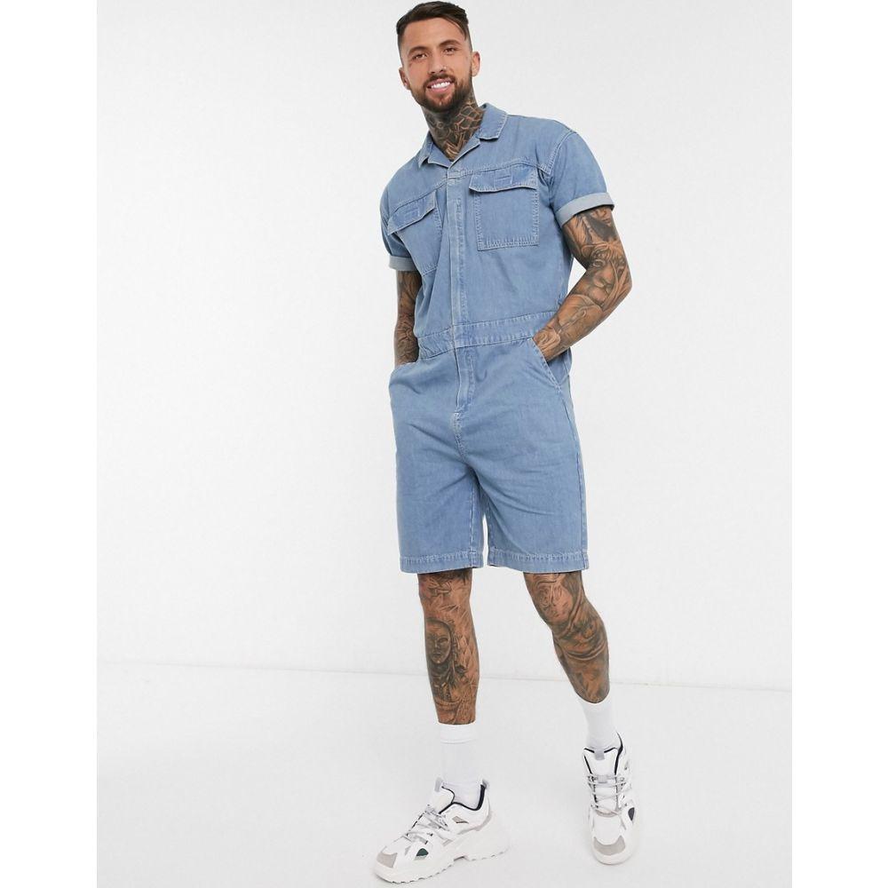 エイソス ASOS DESIGN メンズ ツナギ・オールインワン ボイラースーツ デニム トップス【Asos Design Denim Short Boilersuit In Blue With Pocket Detail】Blue