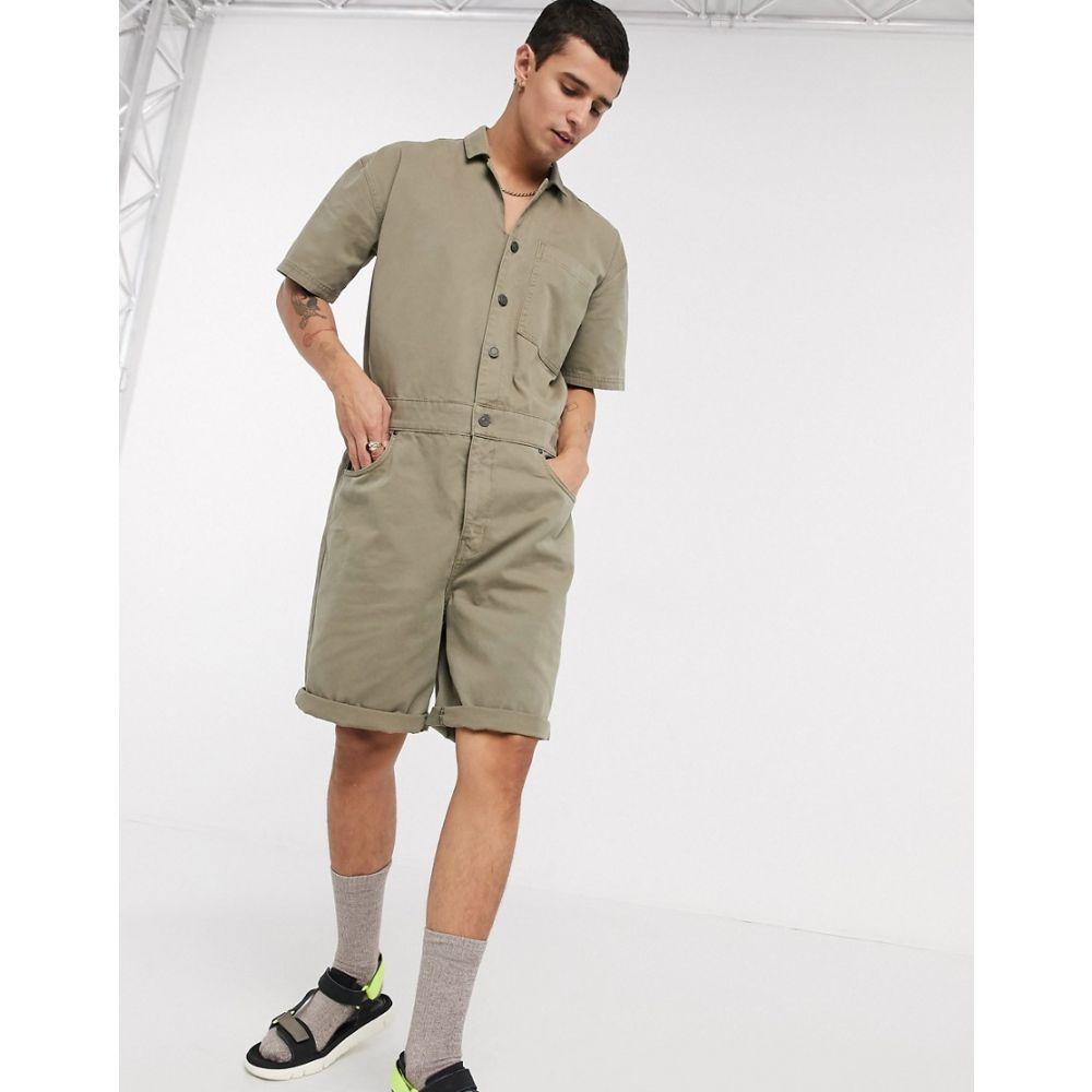 エイソス ASOS DESIGN メンズ ツナギ・オールインワン ボイラースーツ トップス【Asos Design Denim Boilersuit In Khaki】Green