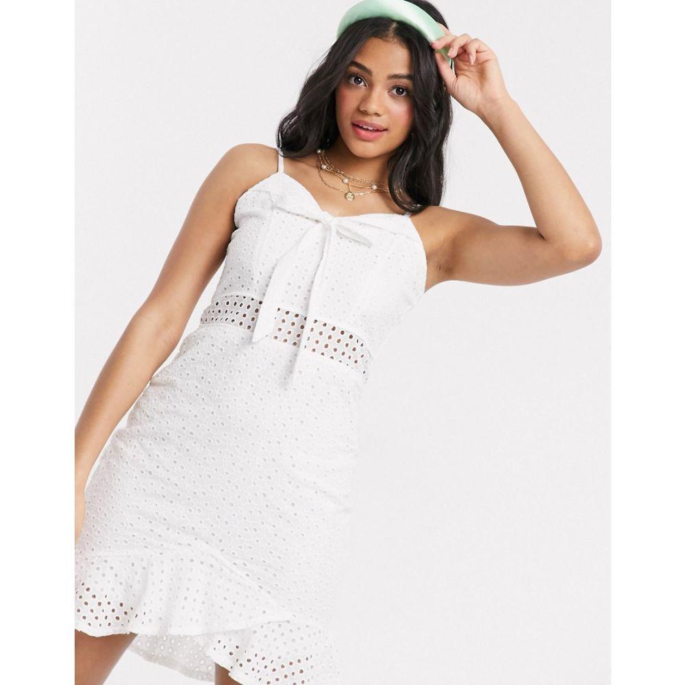 ワイルドフラワー Wild Flower レディース ワンピース ミニ丈 ワンピース・ドレス【Broderie Anglais Bow Front Mini Dress With Flippy Hem In White】White