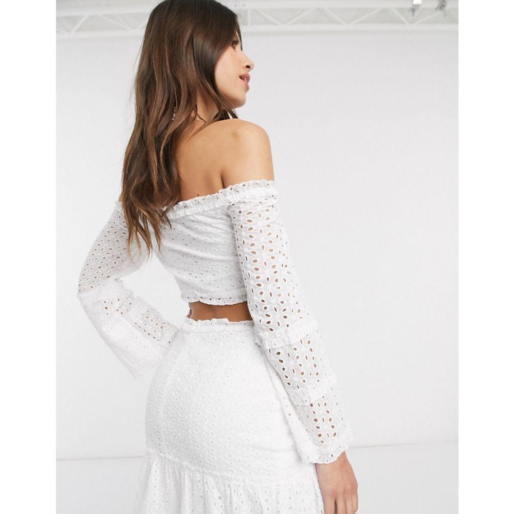 パリジャン Parisian レディース オフショルダー トップス Off Shoulder Broderie Crop Top Co Ord In White WhiteSzqpVUM