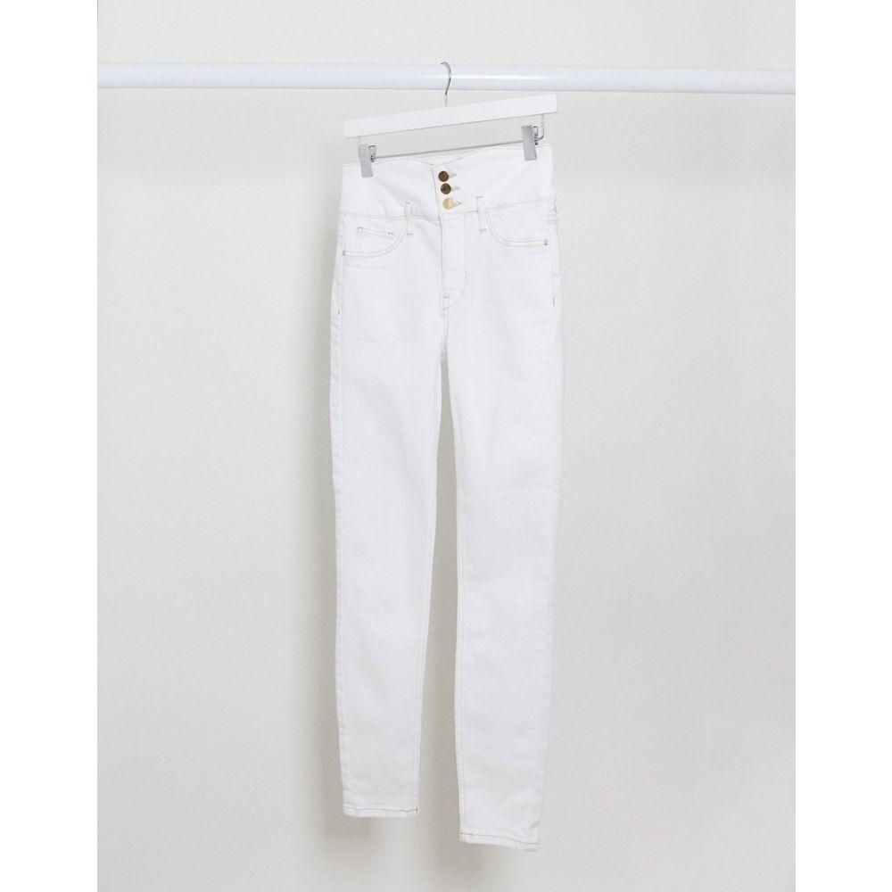 リバーアイランド River Island レディース ジーンズ・デニム ボトムス・パンツ【Hailey Corset High Waisted Skinny Jeans In White】White