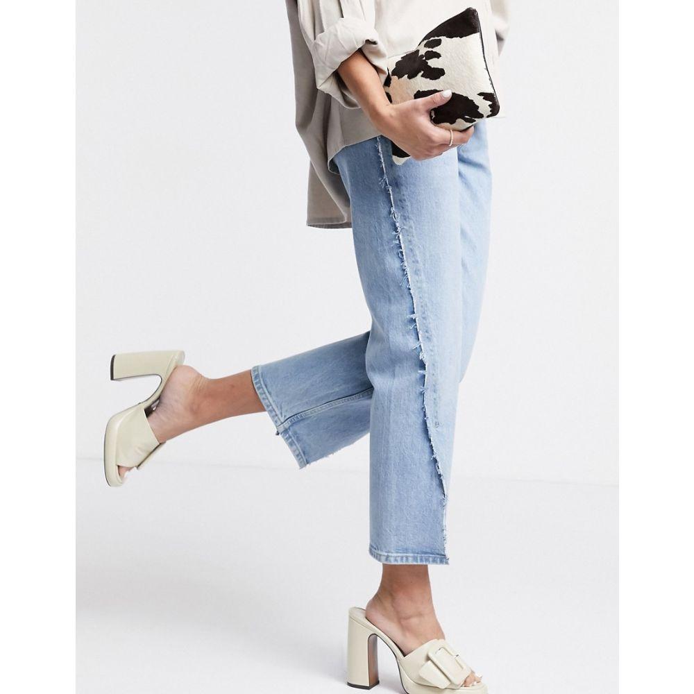 トップショップ Topshop レディース ジーンズ・デニム ボトムス・パンツ【Stitch Detail Split Hem Straight Leg Jeans In Bleach】Blue