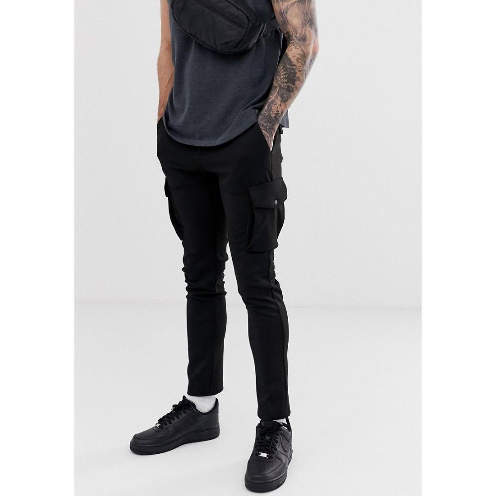 リバーアイランド River Island メンズ カーゴパンツ ボトムス・パンツ【Skinny Cargo Trousers In Black】Black