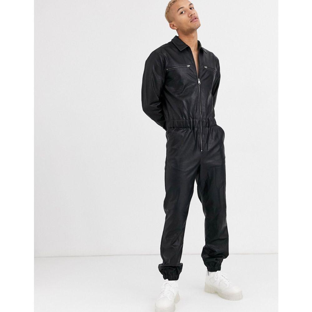 エイソス ASOS DESIGN メンズ ツナギ・オールインワン ボイラースーツ トップス【Asos Design Boilersuit In Black Faux Leather With Zip Detail】Black