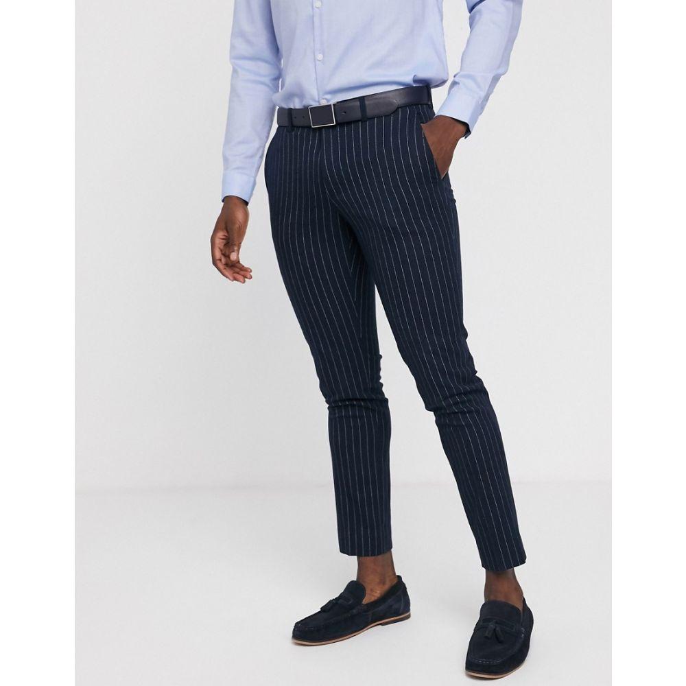 モス ブラザーズ MOSS BROS メンズ スラックス ボトムス・パンツ【Moss London Skinny Suit Trouser In Navy Pinstripe】Navy