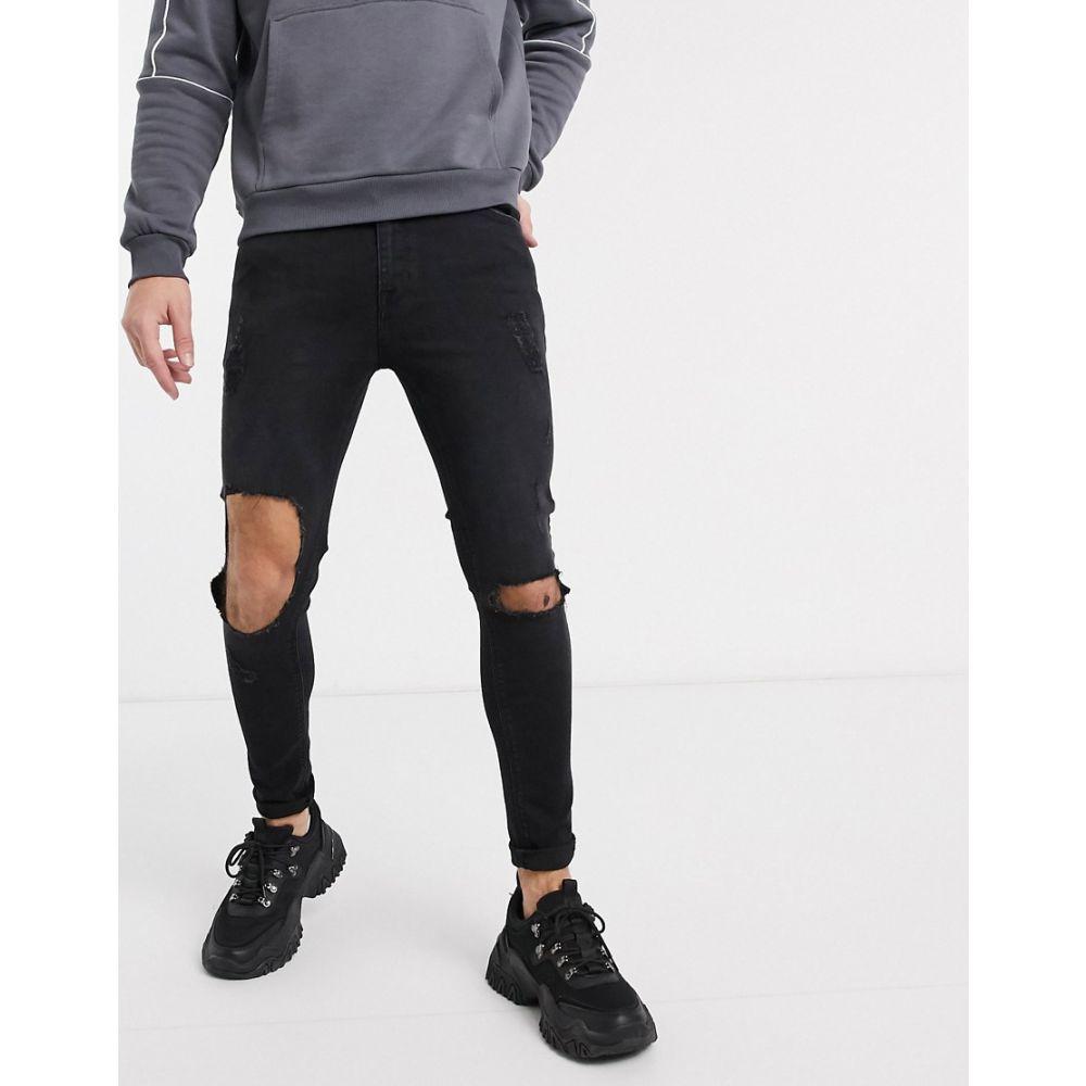 エイソス ASOS DESIGN メンズ ジーンズ・デニム ボトムス・パンツ【Asos Design Spray On Jeans In Power Stretch With Open Rips In Washed Black】Washed black