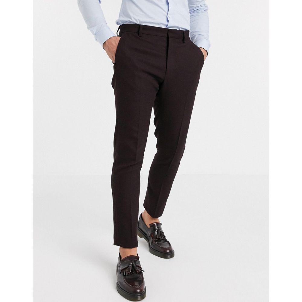エイソス ASOS DESIGN メンズ スラックス ボトムス・パンツ【Asos Design Wedding Skinny Suit Trousers In Wool Look In Burgundy】Burgundy