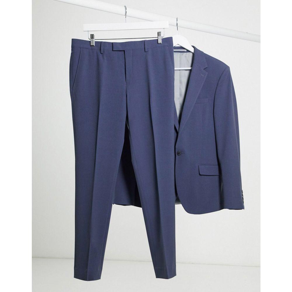 リバーアイランド River Island メンズ スラックス ボトムス・パンツ【Skinny Suit Trousers In Blue】Slate blue