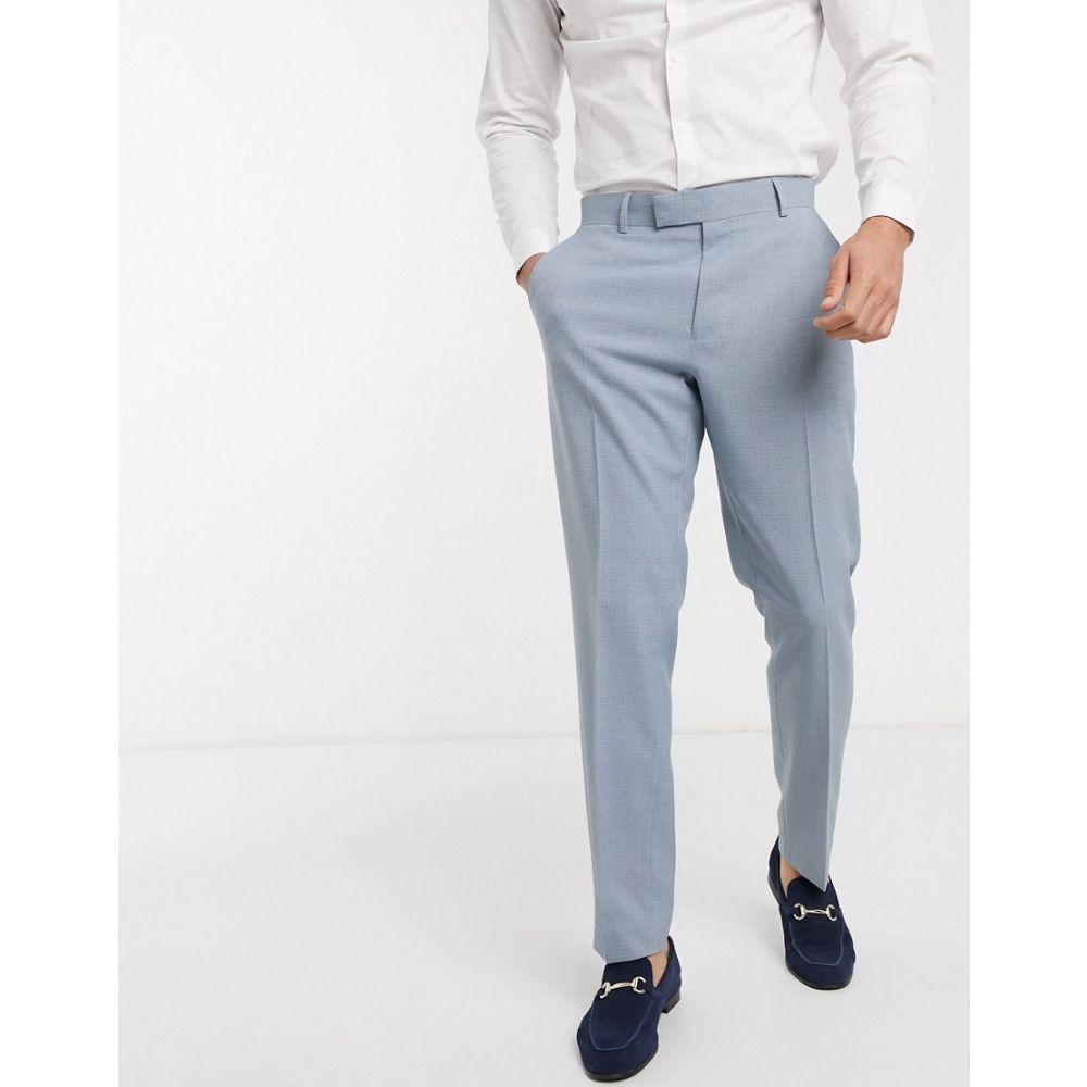 エイソス ASOS DESIGN メンズ スラックス ボトムス・パンツ【Asos Design Wedding Slim Suit Trousers In Crosshatch In Soft Blue】Blue