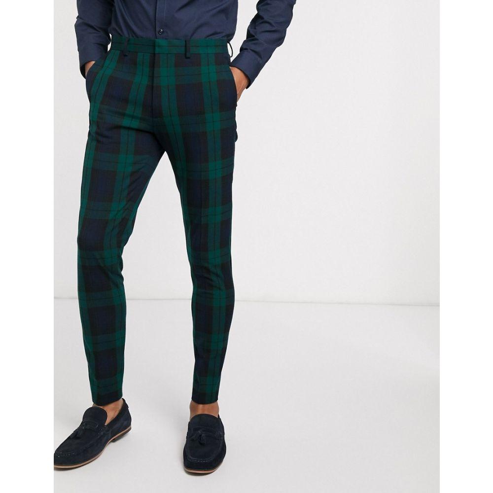 エイソス ASOS DESIGN メンズ スラックス ボトムス・パンツ【Asos Design Super Skinny Suit Trousers In Blackwatch Tartan】Green