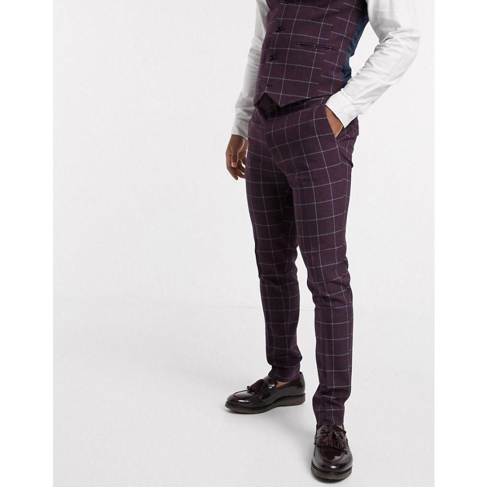エイソス ASOS DESIGN メンズ スラックス ボトムス・パンツ【Asos Design Wedding Super Skinny Suit Trousers In Burgundy Check】Burgundy