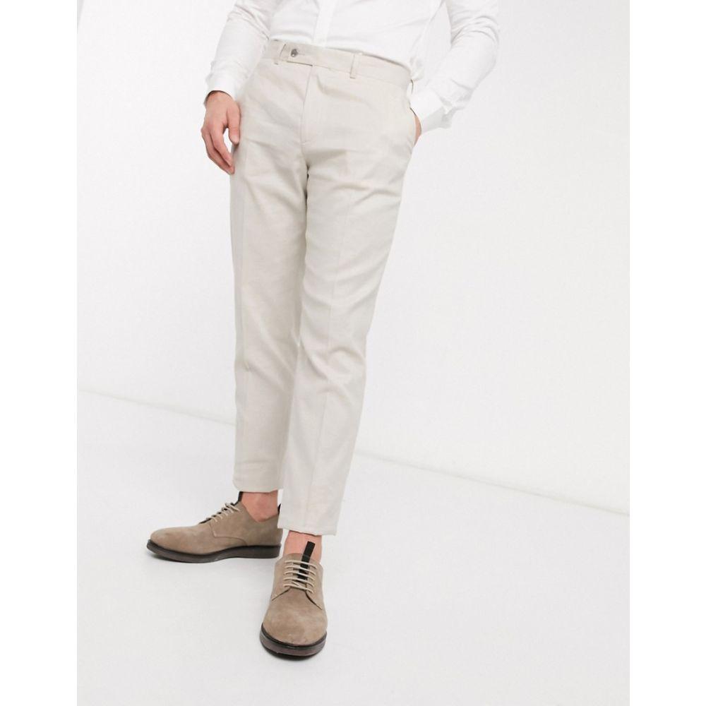 エイソス ASOS DESIGN メンズ スラックス ボトムス・パンツ【Asos Design Wedding Slim Suit Trousers In Stretch Cotton Linen In Stone】Stone