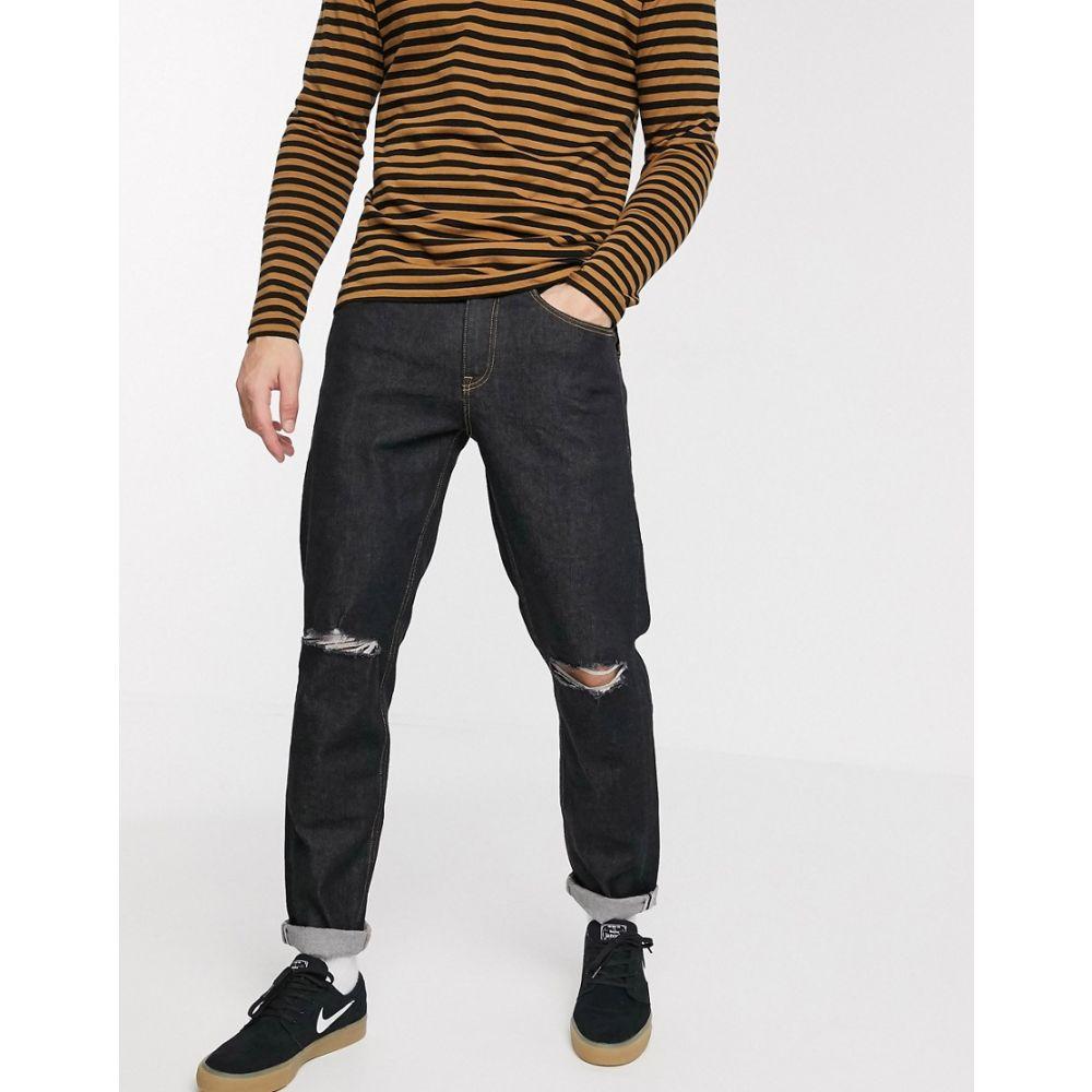 エイソス ASOS DESIGN メンズ ジーンズ・デニム ボトムス・パンツ【Asos Design Stretch Tapered Jeans In Flat Black With Knee Rips】Black