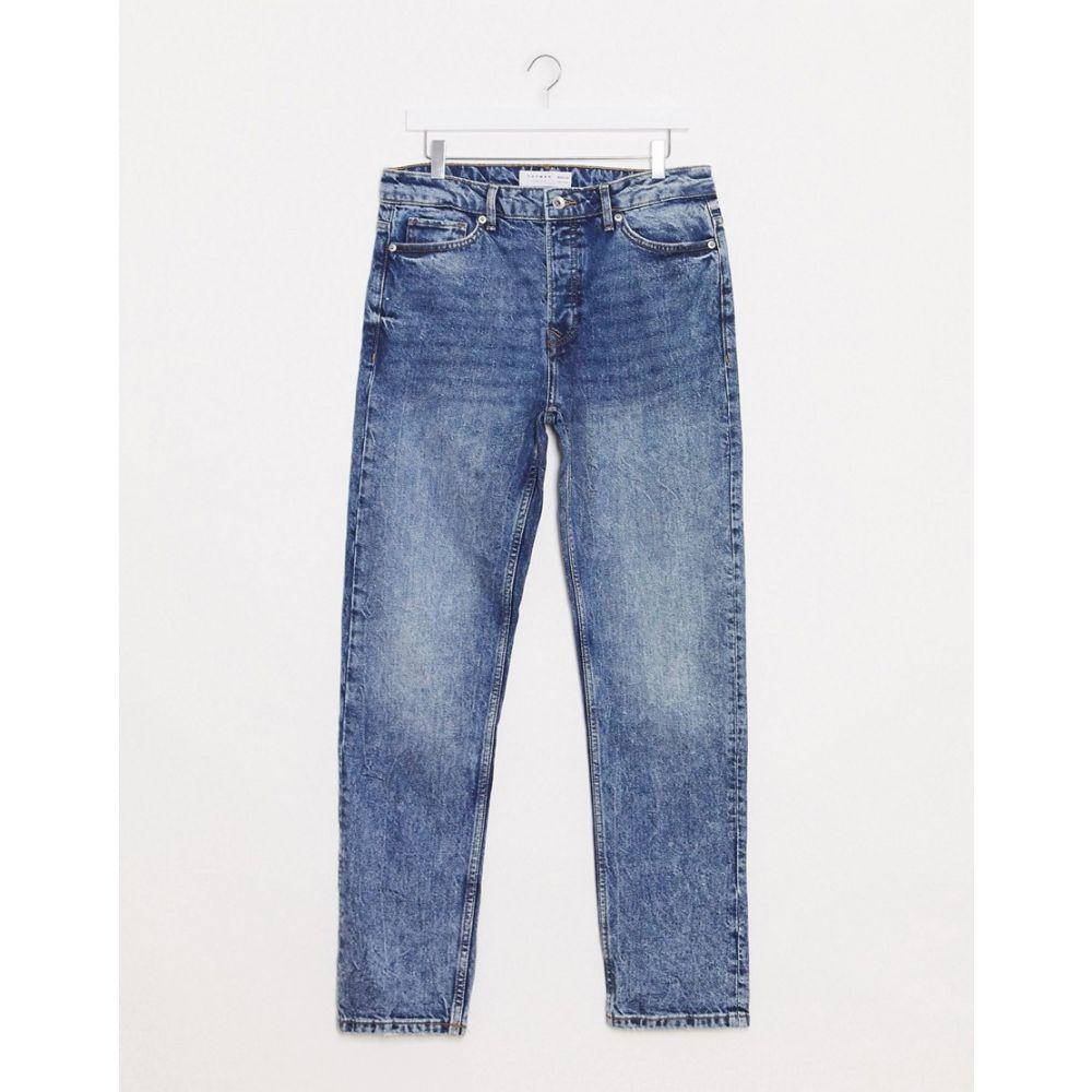 トップマン Topman メンズ ジーンズ・デニム ボトムス・パンツ【Straight Leg Jeans In Mid Wash Blue】Blue