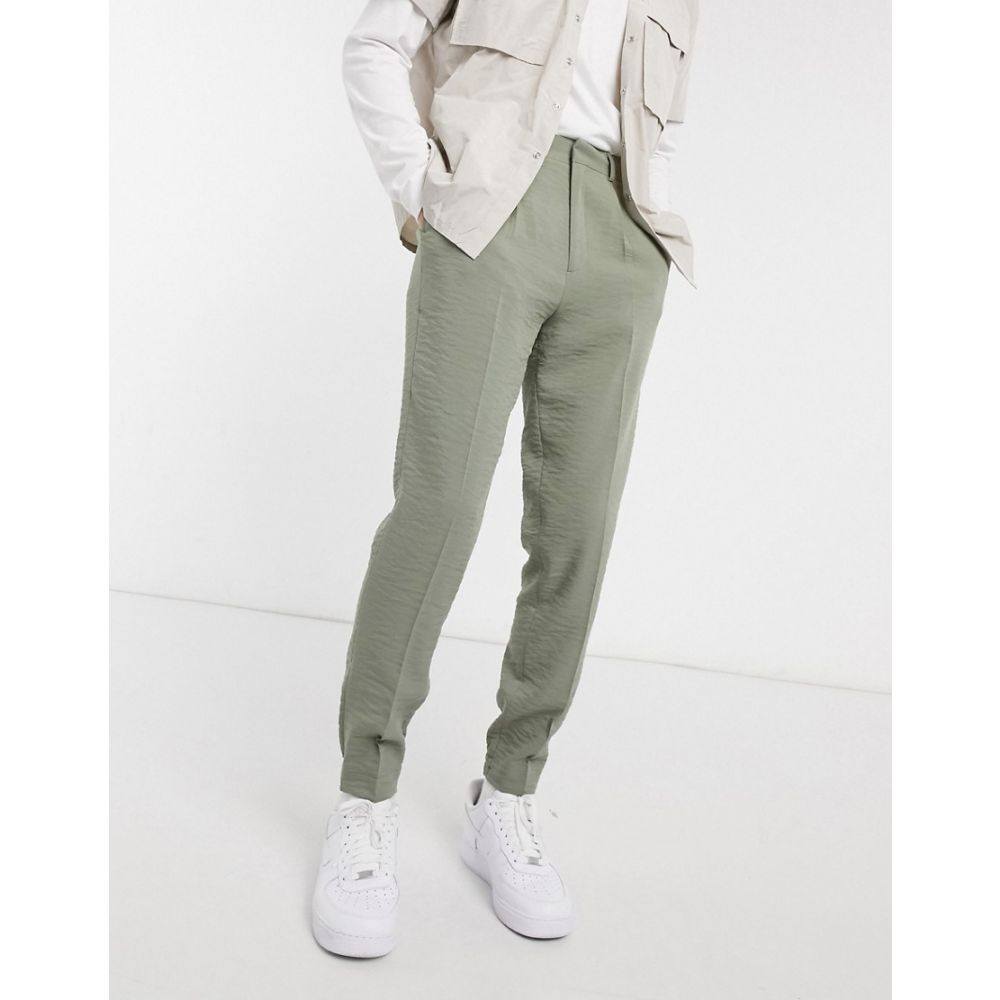 エイソス ASOS DESIGN メンズ ジョガーパンツ ボトムス・パンツ【Asos Design Tapered Smart Jogger Trousers In Khaki Crepe】Khaki