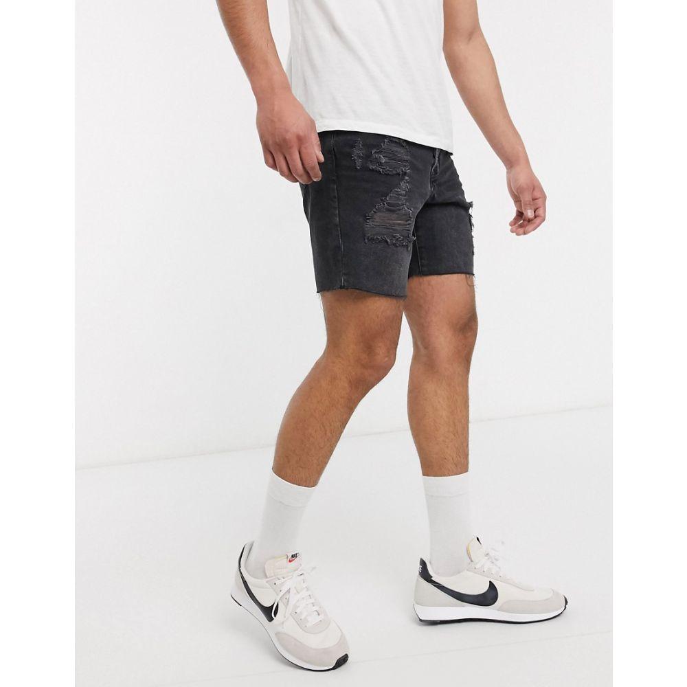 トップマン Topman メンズ ショートパンツ デニム ウォッシュ加工 ボトムス・パンツ【Slim Denim Shorts With Rips In Washed Black】Black