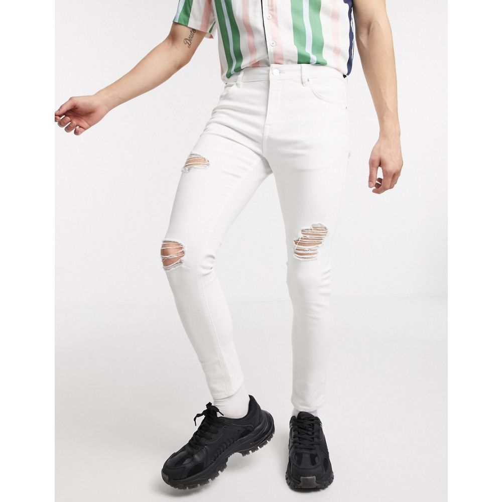 エイソス ASOS DESIGN メンズ ジーンズ・デニム ボトムス・パンツ【Asos Design Spray On Jeans With Power Stretch In White With Heavy Rips】White