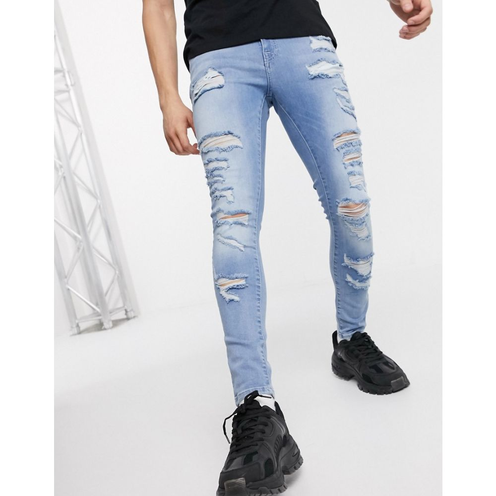 エイソス ASOS DESIGN メンズ ジーンズ・デニム ボトムス・パンツ【Asos Design Spray On Jeans With Power Stretch In Light Wash With Heavy Rips】Light wash blue