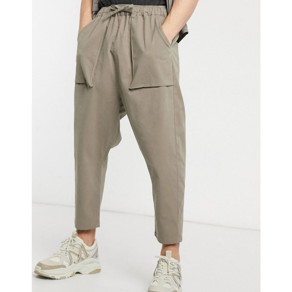 エイソス ASOS DESIGN メンズ チノパン ボトムス・パンツ【Asos Design Drop Crotch Chino Trousers In Beige】Mushroom