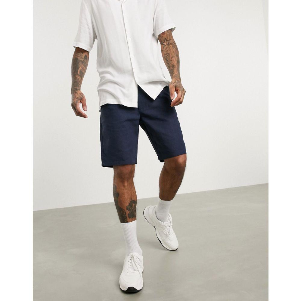 オンリーアンドサンズ Only & Sons メンズ ショートパンツ ボトムス・パンツ【Linen Mix Shorts In Navy】Dress blues