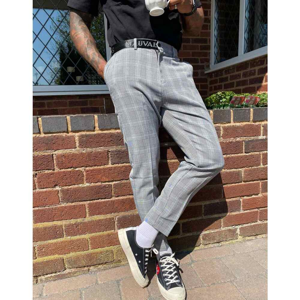 モーヴェ Mauvais メンズ クロップド ボトムス・パンツ【Checked Cropped Tapered Trousers With Half Logo Waistband In Grey】Grey