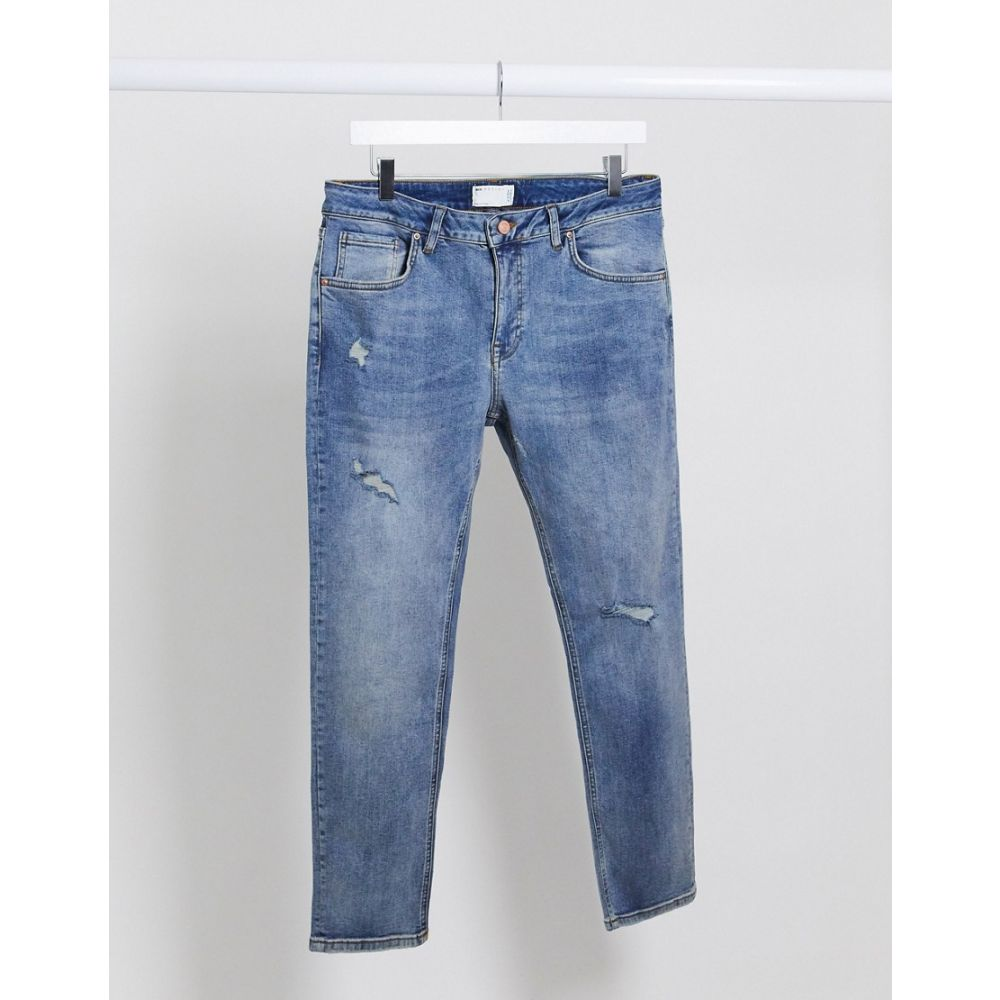 エイソス ASOS DESIGN メンズ ジーンズ・デニム ボトムス・パンツ【Asos Design Cropped Skinny Jeans In Mid Wash Blue With Rips】Mid wash blue