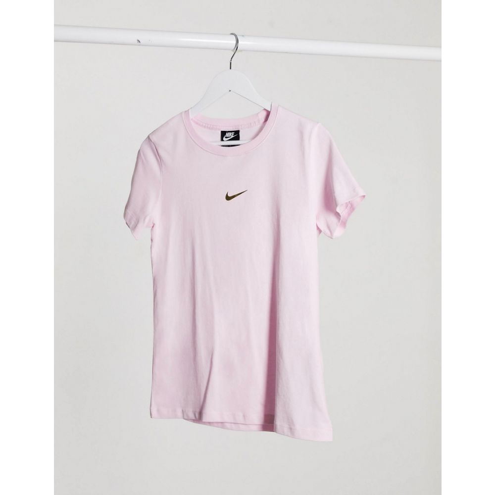 ナイキ Nike レディース Tシャツ トップス【Mini Metallic Swoosh Regular Fit Pastel Pink T-Shirt】Pink foam