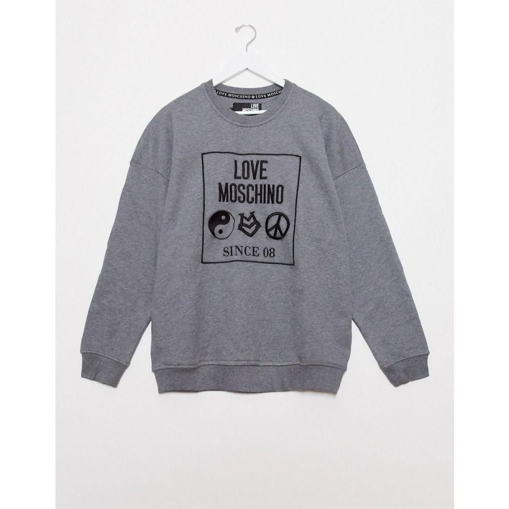 モスキーノ Love Moschino メンズ スウェット・トレーナー トップス【Print Crew Neck Sweat】Grey