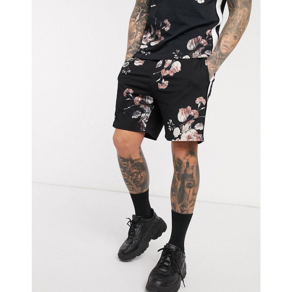 レリジョン Religion メンズ ショートパンツ ボトムス・パンツ【All Over Floral Print Jersey Shorts With Leg Taping In Black】Black
