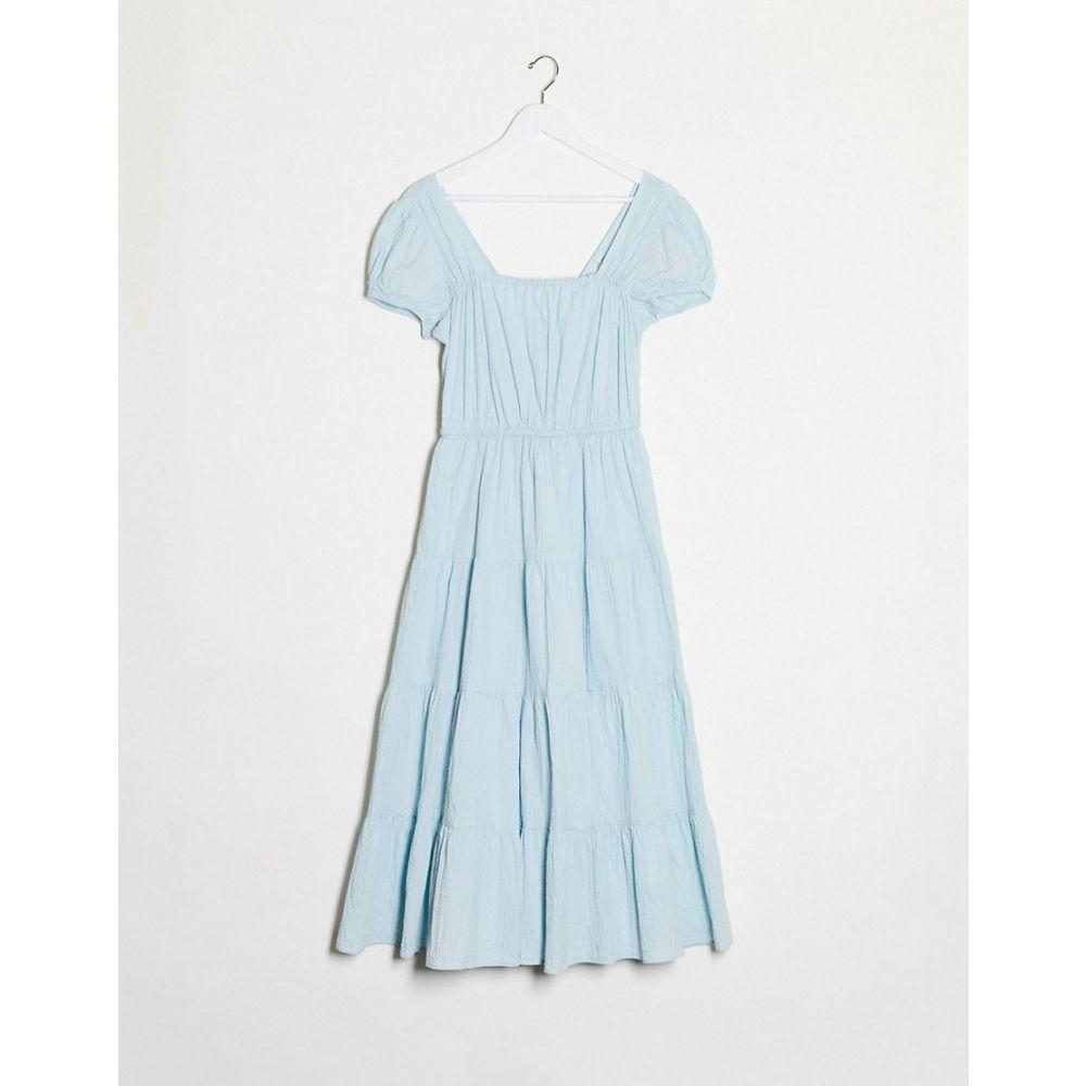 アンドアザーストーリーズ & Other Stories レディース ワンピース ワンピース・ドレス【Eco Cotton Square Neck Smock Midaxi Dress In Blue】Green