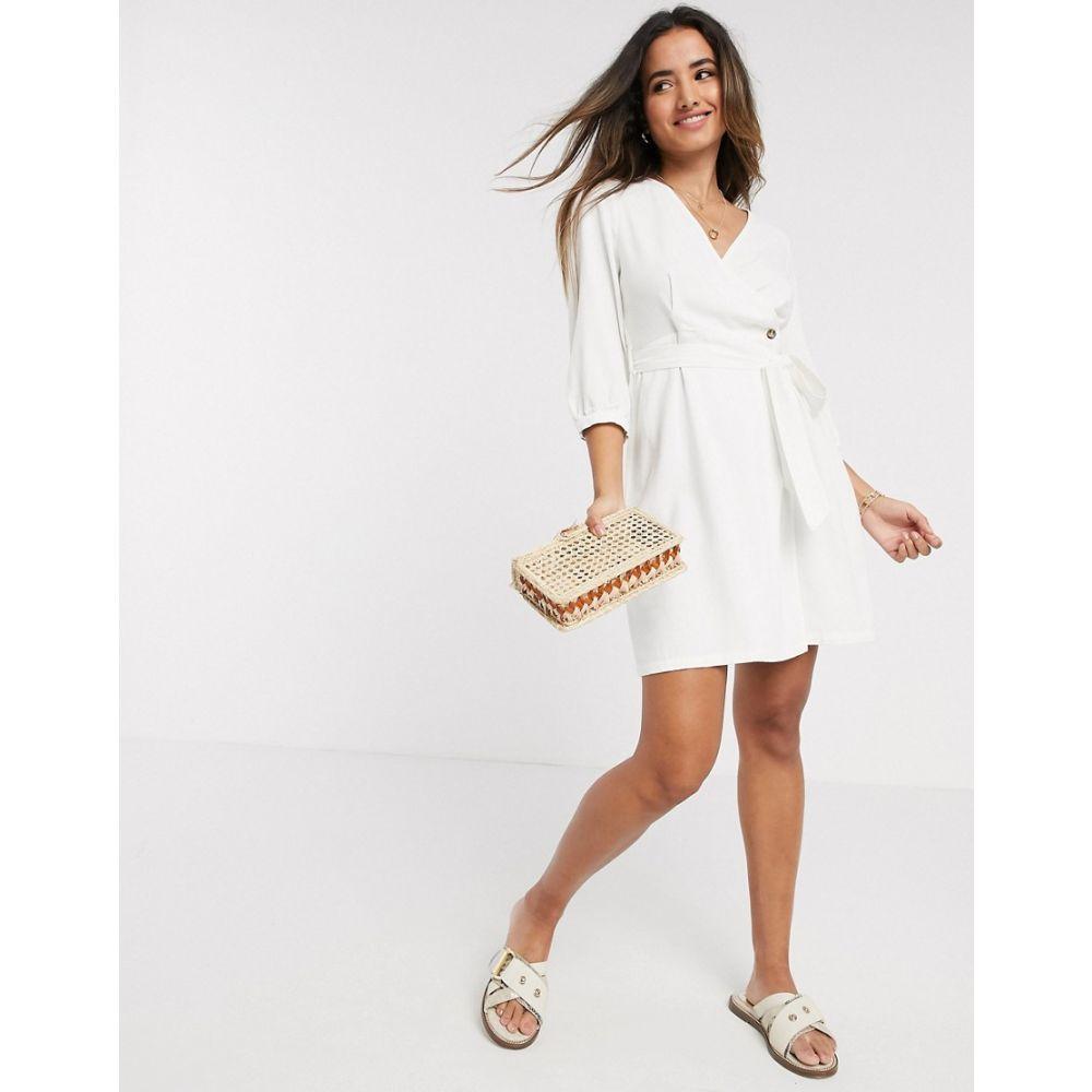 ヴェロモーダ Vero Moda レディース ワンピース ラップドレス ミニ丈 ワンピース・ドレス【Linen Wrap Mini Dress In White】White