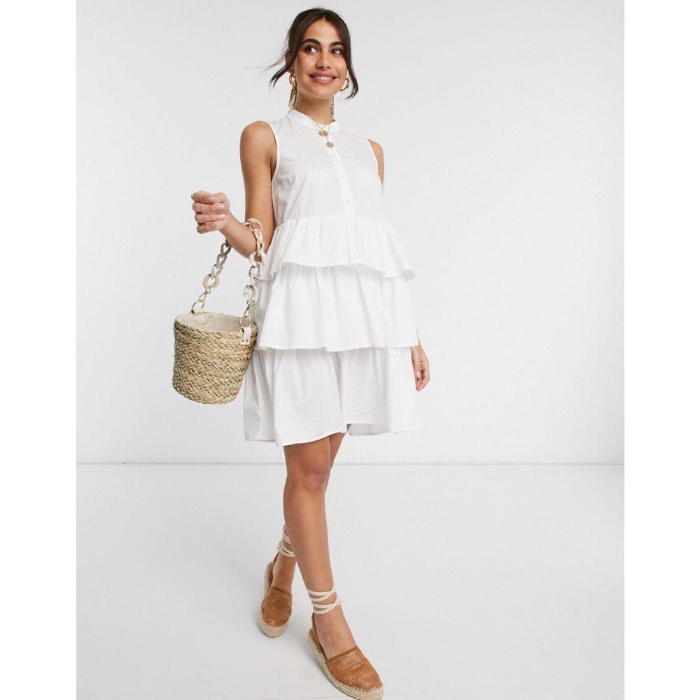 ワイ エー エス Y.A.S レディース ワンピース ティアードドレス ティアードスカート ワンピース・ドレス【Cotton Mini Dress With Tiered Skirt In White】White