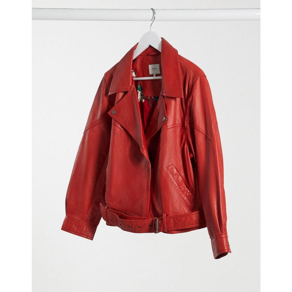 ペペジーンズ Pepe Jeans レディース ジャケット ライダース アウター【Nicole Biker Jacket In Red】Mars red