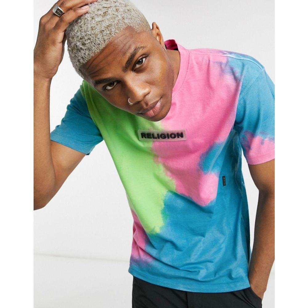 レリジョン Religion メンズ Tシャツ トップス【Chest Logo T-Shirt In Pink Tie Dye】Pink