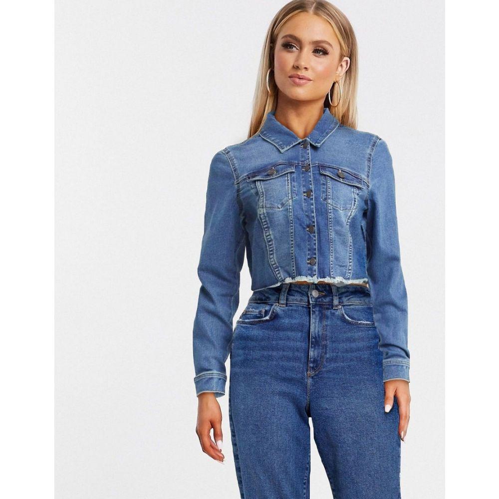 ノイズィーメイ Noisy May レディース ジャケット Gジャン アウター【Cropped Denim Jacket With Raw Hem In Dark Blue】Medium blue
