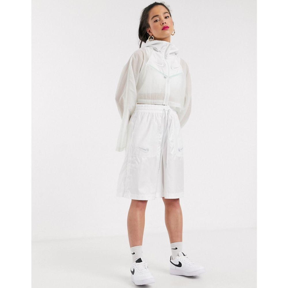 ナイキ Nike レディース ジャケット フード アウター【Swoosh Cropped Hooded White Woven Jacket】Spruce aura