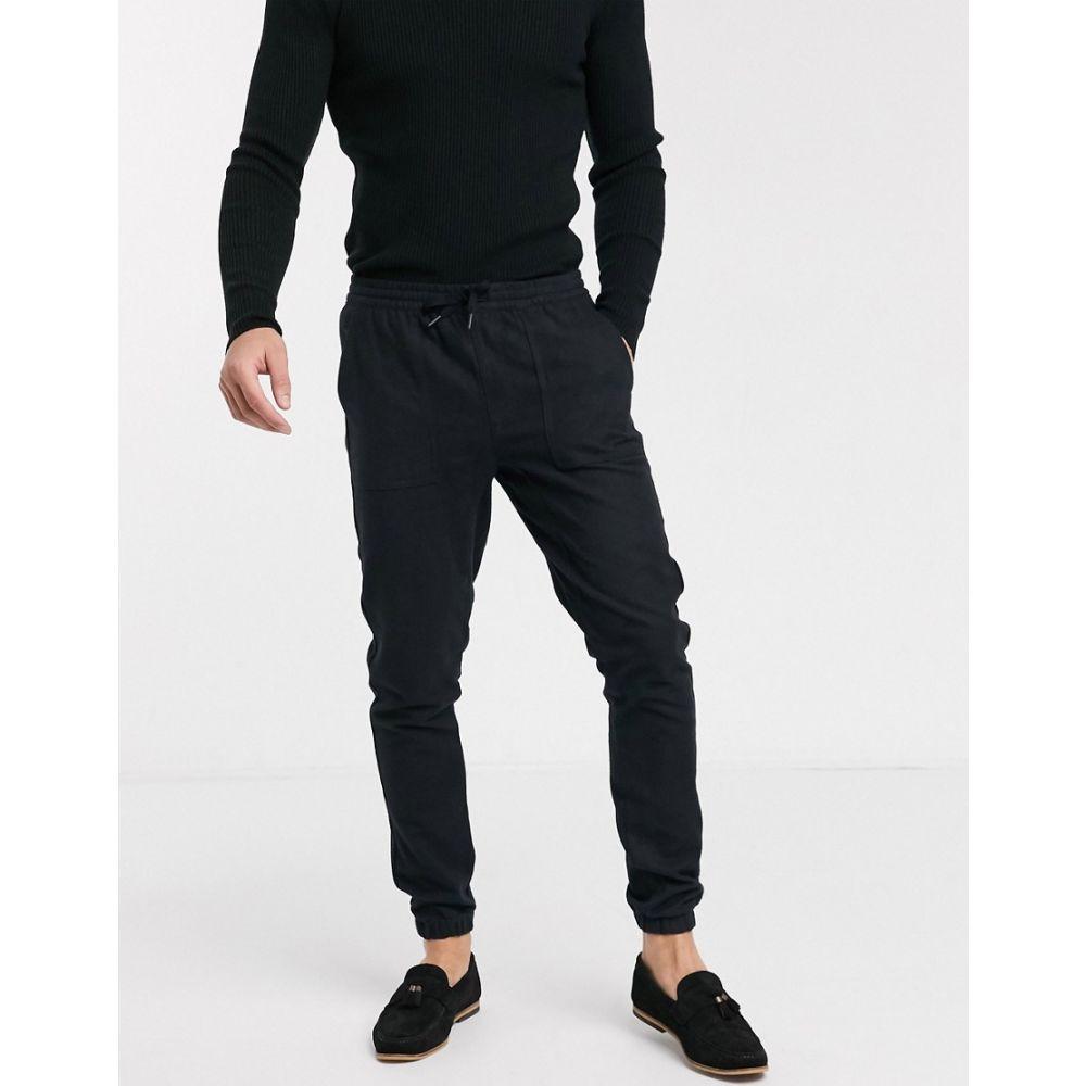 トップマン Topman メンズ ジョガーパンツ ボトムス・パンツ【Flannel Joggers In Black】Black