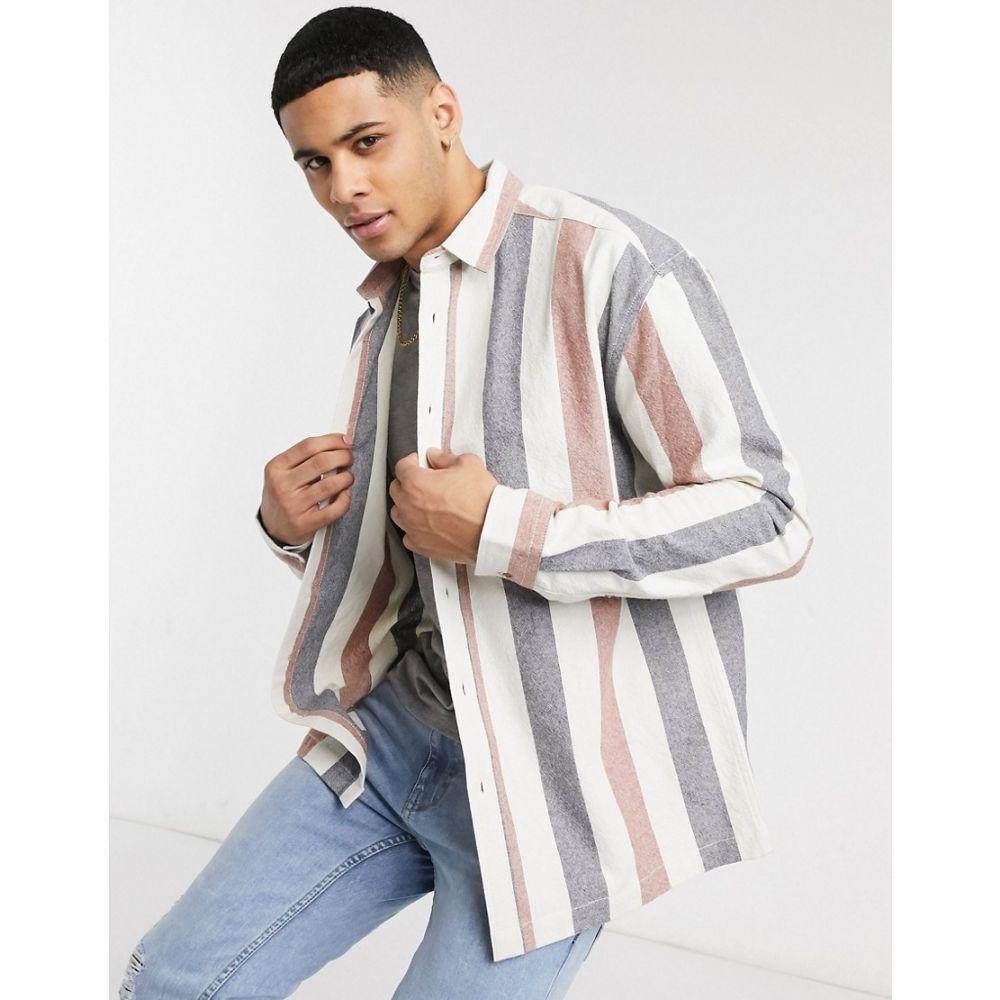 エイソス ASOS DESIGN メンズ シャツ トップス【Asos Design 90S Oversized Stripe Shirt In Slub Red And Blue】White