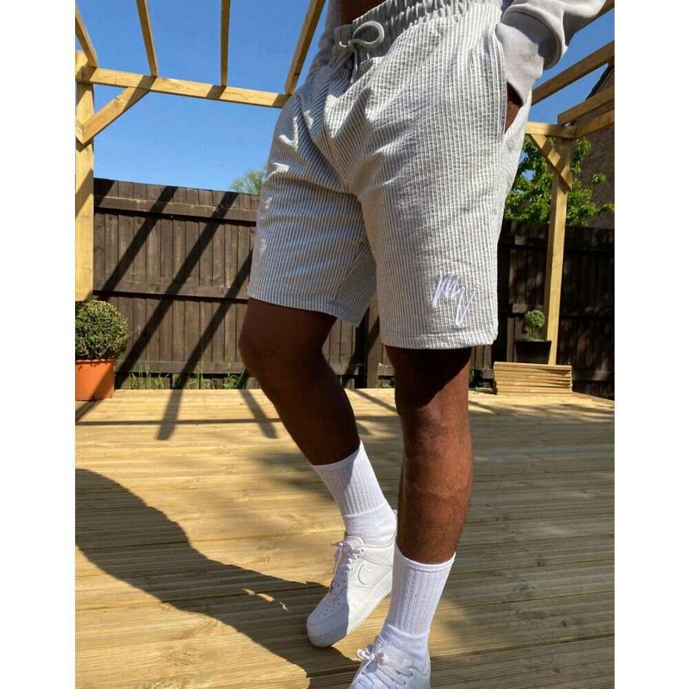 リバーアイランド River Island メンズ ショートパンツ ボトムス・パンツ【Jersey Seersucker Shorts In Grey】Stone/ecru