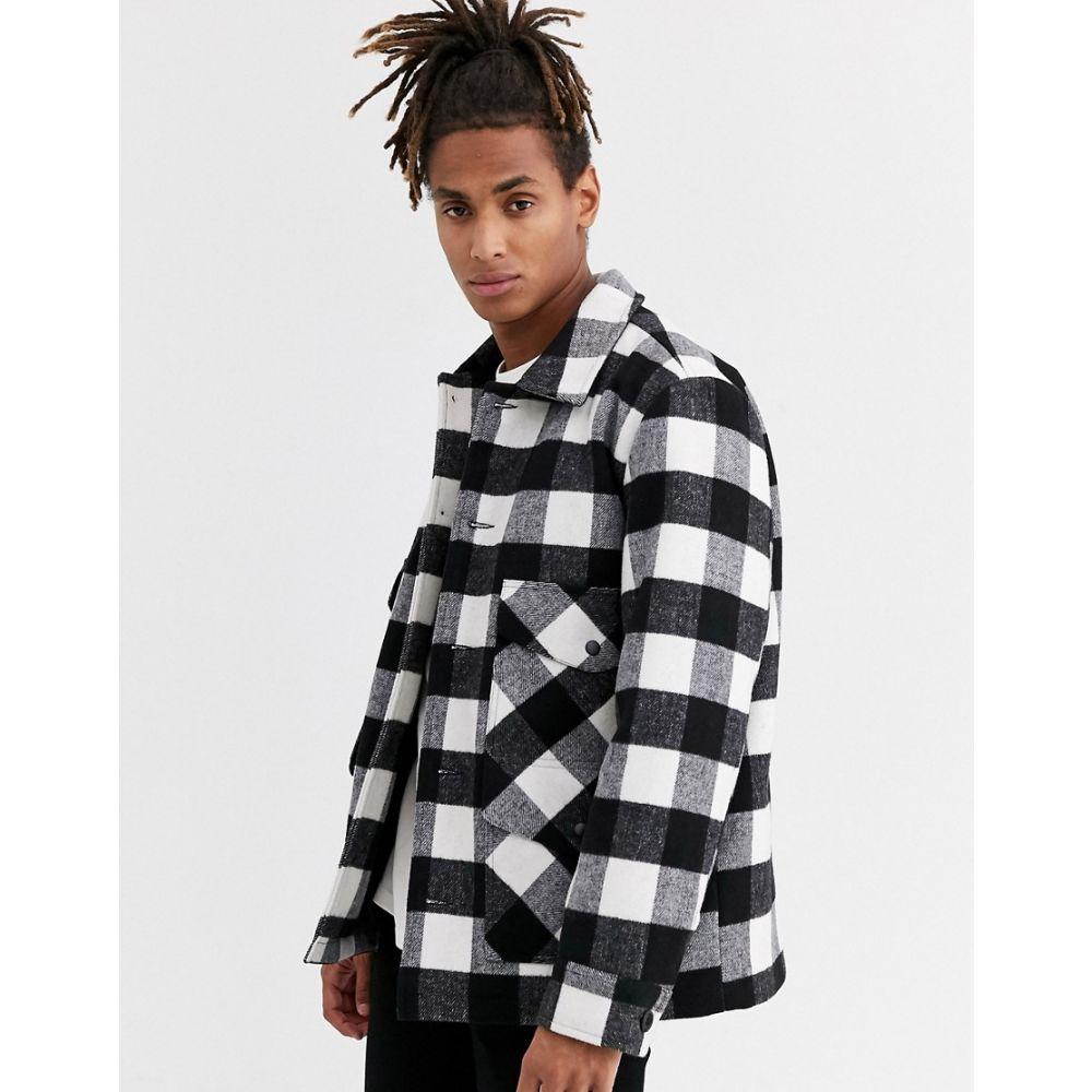 トップマン Topman メンズ コート アウター【Jacket In Black & White Buffalo Check】Black