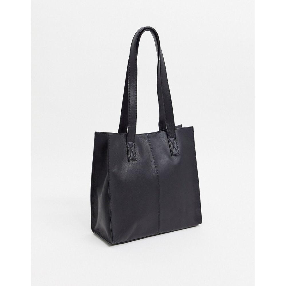 エイソス ASOS DESIGN レディース トートバッグ バッグ【Asos Design Leather Square Shopper Bag In Black】Black
