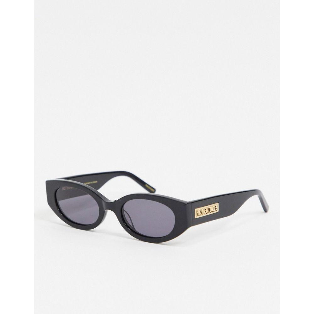 ホットフューチャー Hot Futures ユニセックス メガネ・サングラス オーバル【Slim Oval Retro Sunglasses In Black With Arm Logo】Black