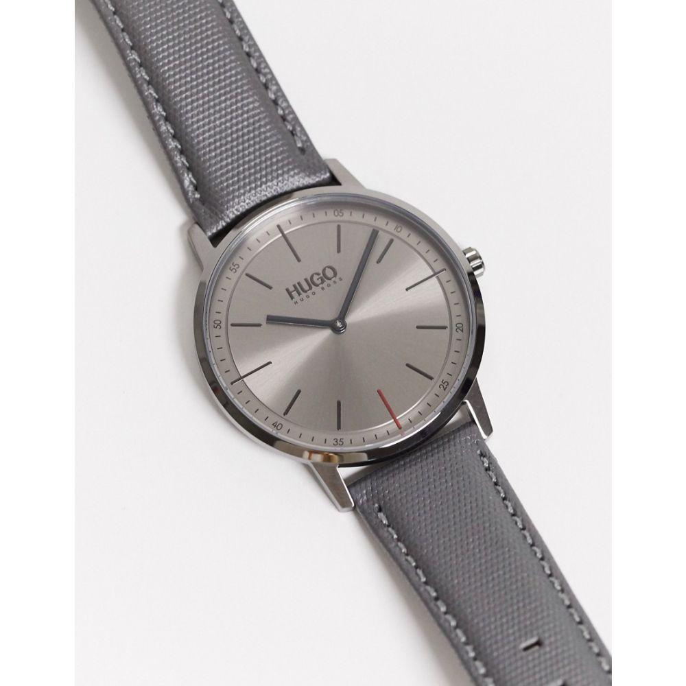 ヒューゴ ボス BOSS ユニセックス 腕時計 【Hugo Boss Exist Watch With Grey Leather Strap】Grey