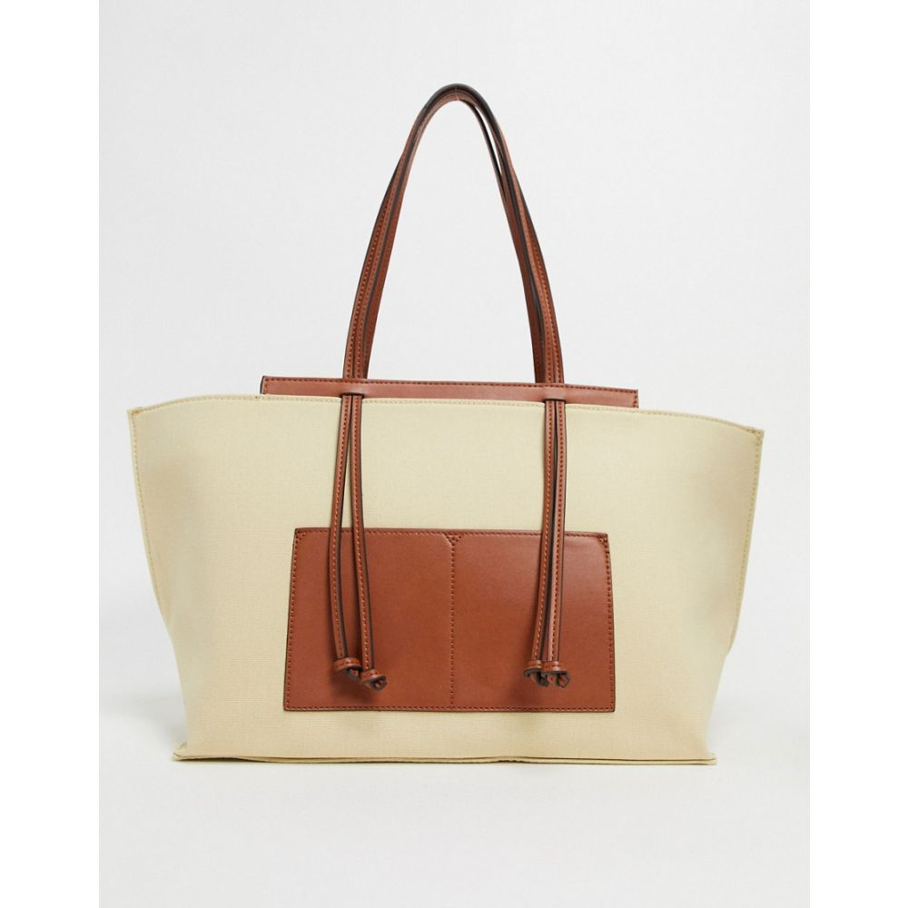 マンゴ Mango レディース トートバッグ バッグ【Canvas Shopper With Contrast Panels In Beige】Beige