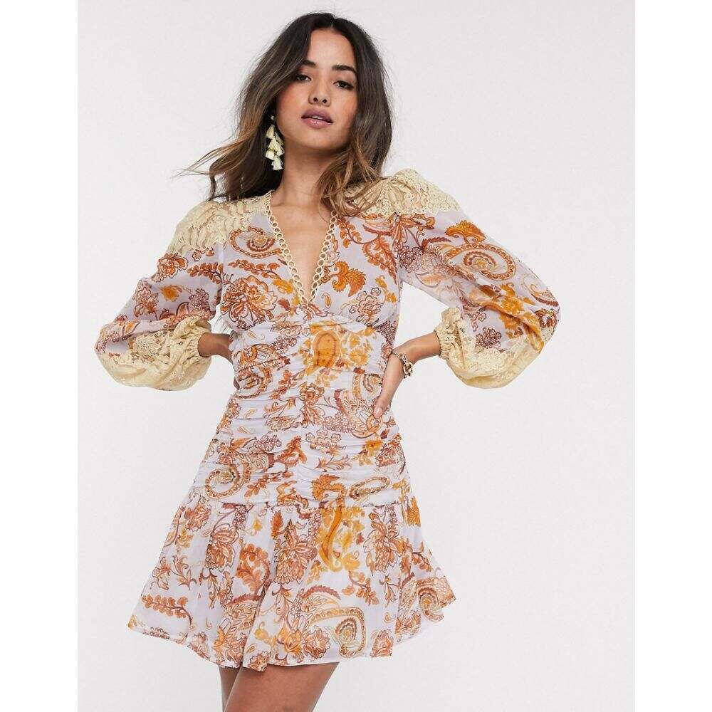 エイソス ASOS DESIGN レディース ワンピース ワンピース・ドレス【Asos Design Lace Insert Shirred Waist Skater Mini Dress In Paisley Print】Paisley print