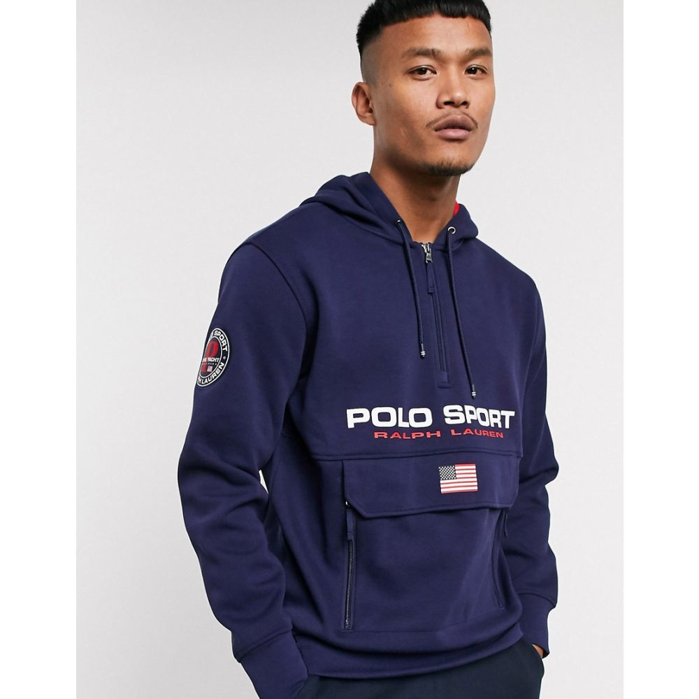 ラルフ ローレン Polo Ralph Lauren メンズ パーカー トップス【Sport Capsule Logo Front Pocket Double Knit Pique Hoodie In Navy】Cruise navy